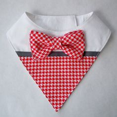 Red and White Mini Houndstooth Bib-Style Bandana Scarf for Dogs or Cats
