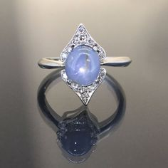 Vintage 14k White gold Natural Star Sapphire VS-1 Diamond cluster ring 2.20ctw by crystalanchor on Etsy