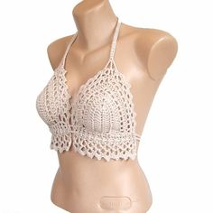 Top de ganchillo beige top de encaje Crochet cultivo tapa