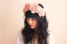 pale pink large oversize rose headband - romantic wedding headpiece, spring racing carnival, summer festival, woodland.. $39.00, via Etsy.