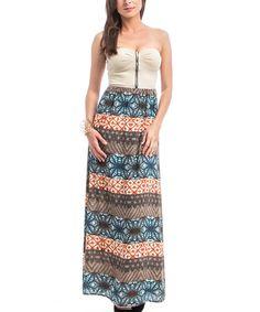 Love this Beige Front-Zip Bustier Strapless Maxi Dress on #zulily! #zulilyfinds
