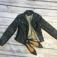 Medium Black Leather Jacket! Faux leather jacket with floral lining. Insides of arms and sides have fabric, see photo. Well taken care of and a staple in any closet!! Jackets & Coats