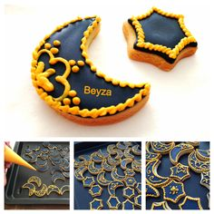 Ramadan cookies made by me Sparkle Decorations, Ramadan Decorations, Ramadan Gifts, Ramadan Sweets, Eid Gift, Ramadan Food, Eid Cake, Cookies Decorados, Eid Food