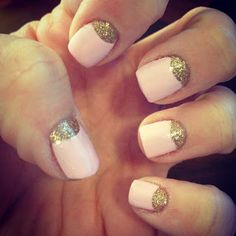 Pink and Gold Half Moon Manicure