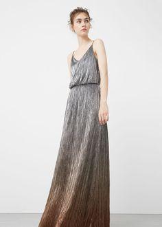 Vestido largo metalizado | MANGO