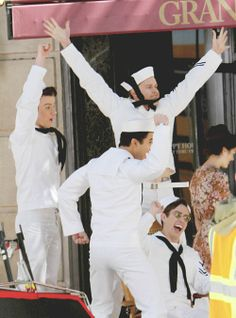 Chris Colfer, Darren Criss, Chord Overstreet and Kevin McHale filming Glee (April, 1st)