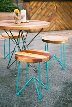 This table and stools set would be perfect for a backyard or apartment balcony