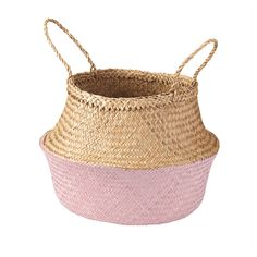 IKEA - KRALLIG, Basket, seagrass, light pink, This braided basket has a unique look since each basket is handmade. You can choose how you want to use this basket – turned up with handles or turned down to display the contents. Ikea Basket, Wicker Baskets, Small Storage Boxes, Storage Baskets, Hemnes, Pot A Crayon, Box With Lid, Gras, Recipes