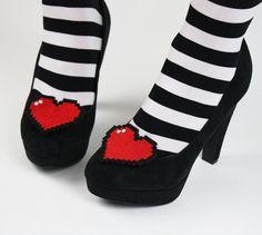 8 Bit Heart Shoe Clips Pixel Hearts by JanineBasil on Etsy, £19.00