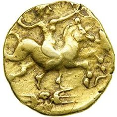Celtic Coinage of Armorica. Northwestern Gaul. The Redones. Gold stater (8.04 g, 20 mm). 2nd century B.C. showing  a women on horse.