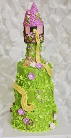 Rapunzel Cake. maybe Im crazy but I feel like I could do a less pretty but still pretty decent looking version of this lol