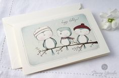 Christmas Card, Holiday, Greeting Card, Blue Bird, Winter, Snow, Sweet Gathering. $4.25, via Etsy.
