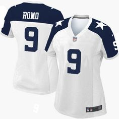 Women's Nike Dallas Cowboys #9 Tony Romo Limited White Throwback Alternate NFL Jersey Sale