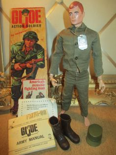 Wonderful Vintage 1964 TM *G.I. JOE* Doll, Box, Original Clothes, & Papers   My Barbie had a thing for GI Joe
