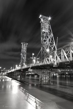 Hawthorne Bridge in Black and White- Portland, Oregon
