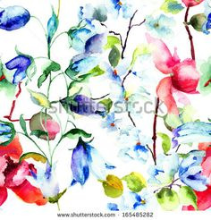 Seamless wallpaper with Summer flowers, watercolor illustration  - stock photo