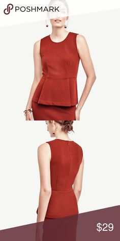 Textured peplum shell in fresh chestnut Only wore once- super cute with matching skirt! Ann Taylor Tops Tank Tops