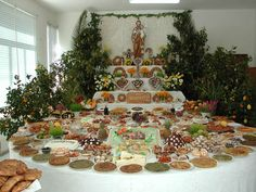 St. Joseph's Day table (or alter) ...  Interesting how all cultures have a way of celebrating the abundance of the harvest or similar!