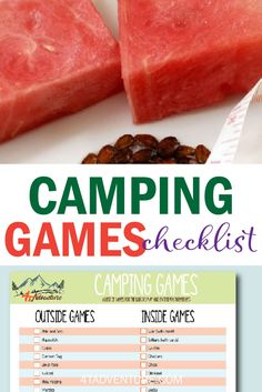 Get a free checklist of family camping games. The next time the kids as what they can do, you can have a list of creative and fun ideas ready. Great outdoor fun for the whole family! Family Camping Games, Tent Camping, Camping Hacks, Camping Checklist, Family Games, Fun Outdoor Activities, Outdoor Fun, Fun Printables For Kids, Rainy Day Games