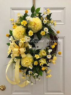 Large Yellow Spring Wreath for front door. Spring Wreath.