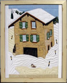 Wengen Switzerland Fabric Art Textile Collage by PennyFabricArt, $165.00