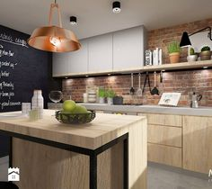 Projekt kuchni rustykalnej, gdzie ciepła kolorystyka i dodatki podkreślają domowy klimat. Przyjemne miejsce, aż chce się w niej przebywać i tworzyć przepyszne posiłki. Duża półka n ...