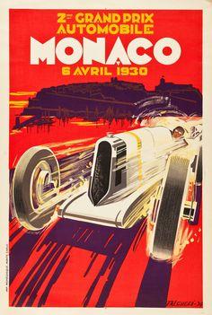 Monaco Grand Prix Travel Poster (Automobile Club of Monaco, 1930).