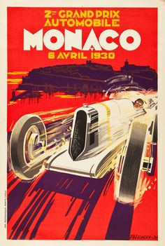 Monaco Grand Prix Travel Poster (Automobile Club of Monaco, 1930).