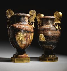 A pair of late George III ormolu-mounted blue-john vases Circa the mounts attributed to Alexis Decaix Thomas Hope, John Stones, Art Nouveau, Vases, Wood Carving, Decoration, Modern Art, Sculptures, Montages