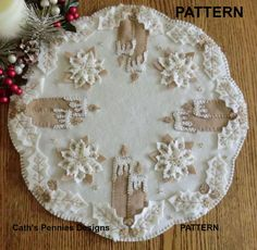 """White Christmas"" Wool Applique Penny Rug Candle Mat  * Pattern* #CathsPenniesDesigns"