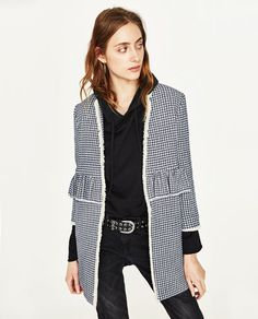 Image 2 of GINGHAM CHECK COAT WITH FRILL from Zara
