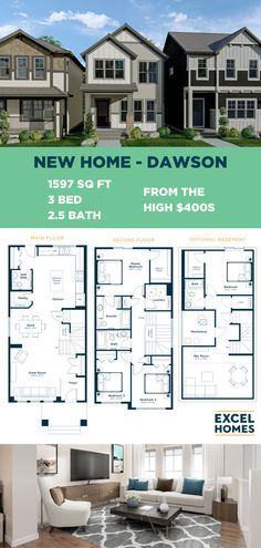 The Dawson offers a bright, open concept floor plan that's perfect for families. Centered around a great room that flows into a gourmet kitchen complete with breakfast nook and pantry. Personalize your model and check out the virtual tour at ExcelHomes.ca! #3bedroomhome #ShowHome #CalgaryHomes #ExcelHomes #FloorPlan 3 Bedroom Home Floor Plans, Small House Floor Plans, Small House Design, Dream Home Design, Build Your House, Building A House, Open Concept Floor Plans, Luxury Vinyl Plank, Tile Installation