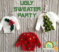Ugly Christmas Sweater Felt Ornament tutorial (make tiny ugly sweaters & place on a blank sweater for ugly sweater party) Felt Christmas Ornaments, Christmas Fun, Diy Ornaments, Christmas Outfits, Beaded Ornaments, Ugly Xmas Sweater, Christmas Sweaters, Felt Crafts, Christmas Crafts