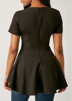 Asymmetric Hem Black Flouncing Short Sleeve Blouse | Rosewe.com - USD $28.66