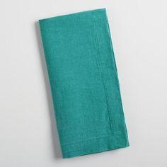 Teal Linen Napkins Set of 4 - v1