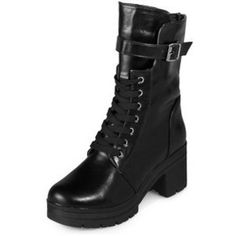 Chunky Heel Lace-Up Boots