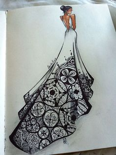 40 Absolutely Beautiful Zentangle patterns For Many Uses – Art Arte Fashion, Croquis Fashion, Moda Fashion, Et Tattoo, Illustration Mode, Dress Drawing, Croquis Drawing, Dress Design Drawing, Drawing Drawing