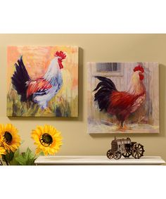 Look what I found on #zulily! Red & White Rooster Wrapped Canvas - Set of Two #zulilyfinds