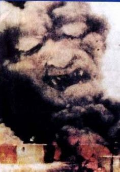 This picture was captured by a CNN Journalist during the attack on the World Trade Center on 9/11/01. Very strange.