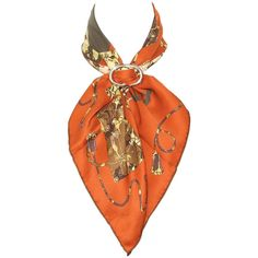 Pre-owned Authentic Hermes Silk Scarf Kelly En Caleche Orange 67 cm ($399) ❤ liked on Polyvore featuring accessories, scarves, orange scarves, pure silk scarves, hermes scarves, hermes shawl and square silk scarves
