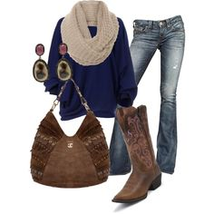 Country Chic - Tan, Brown & Blue