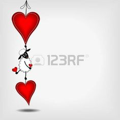 hanging two red hearts with white stitches an cute white sheep on gray background - vector illustration photo