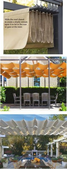 The wooden pergola is a good solution to add beauty to your garden. If you are not ready to spend thousands of dollars for building a cozy pergola then you may devise new strategies of trying out something different so that you can re Diy Pergola, Patio Diy, Retractable Pergola, Pergola Canopy, Deck With Pergola, Canopy Outdoor, Outdoor Pergola, Patio Roof, Pergola Ideas
