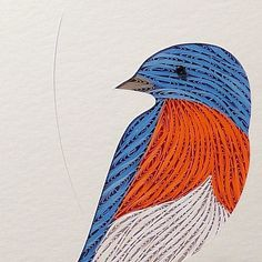 Quilled Bluebird original framed handcrafted wall art paper crafts | QuillingbySandraWhite on ArtFire