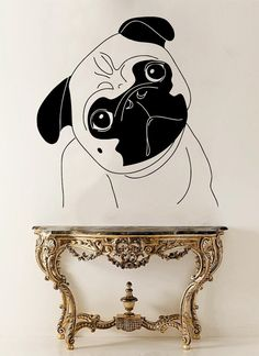 Pug Dog Vinyl Sticker Pug Wall Decal Pet Vinyl by AndreadecalS