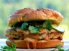 Salmon Burgers with Spicy Hoisin Mayo from NoblePig.com