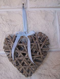 Small Wicker Hearts With Light Blue Gingham Ribbon  $11.50