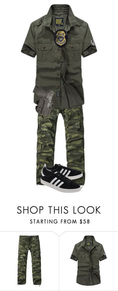 """""""Pete militare"""" by meshuge on Polyvore featuring adidas Originals, men's fashion e menswear"""
