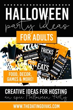 Hosting a Halloween party for adults? With over 100 adult Halloween party ideas you will find exactly what you need to host an epic Halloween party. Halloween party games, food, decor & more! Halloween Games Adults, Halloween Food For Party, Halloween Movies, Halloween Birthday, Couple Halloween, Holidays Halloween, Halloween Ideas, Halloween Decorations, Adult Party Games