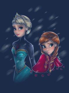 Anna And Elsa Disney Frozen Fan Art